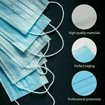 40 PCS Face Mask Medical Surgical Dental Disposable 3-Ply Earloop Mouth Cover 3