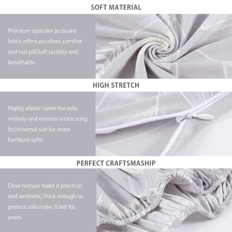 1-3 Sofa Covers Couch Slipcover Stretch Elastic Fabric Settee Protector Fit NEW 4