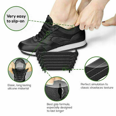 Elastic Silicone Shoelaces Shoe Lace Easy No Tie Kids Adult Lazy Trainers Rubber 9