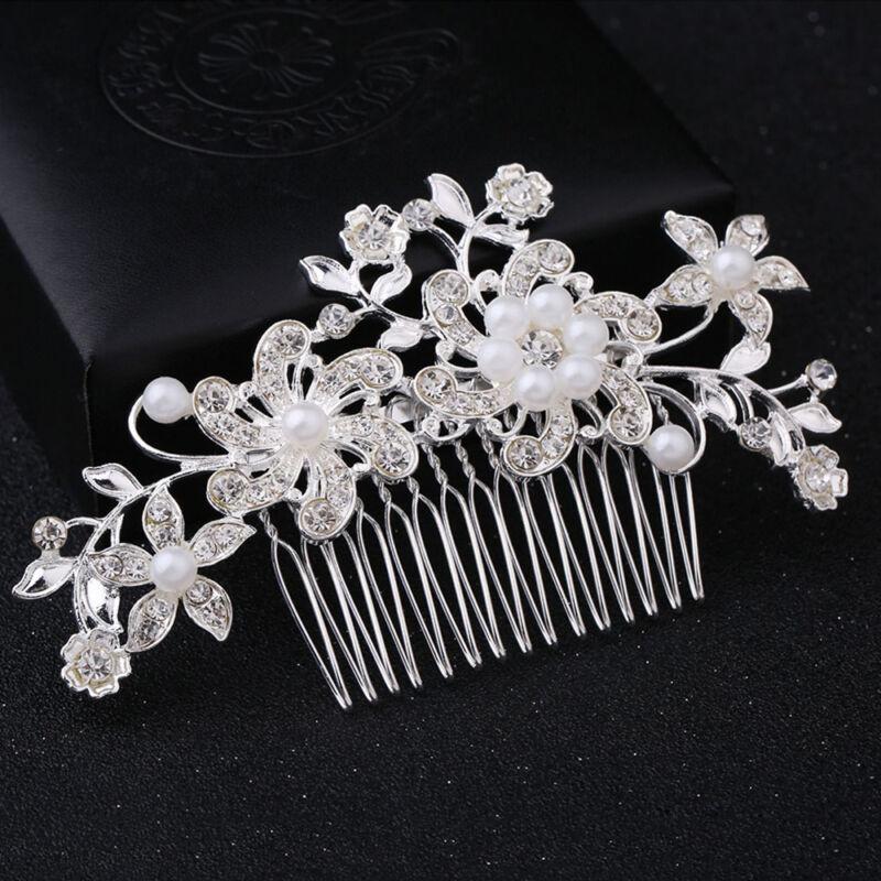 Bridal Wedding Crystal Diamante Hair Comb Pearls Clips Accessories Slide Grip