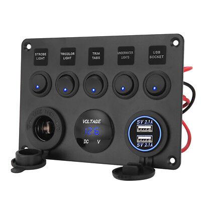 AU Switch Panel 12V USB ON-OFF Toggle 5 GANG Blue LED Rocker for Car Boat Marine 8