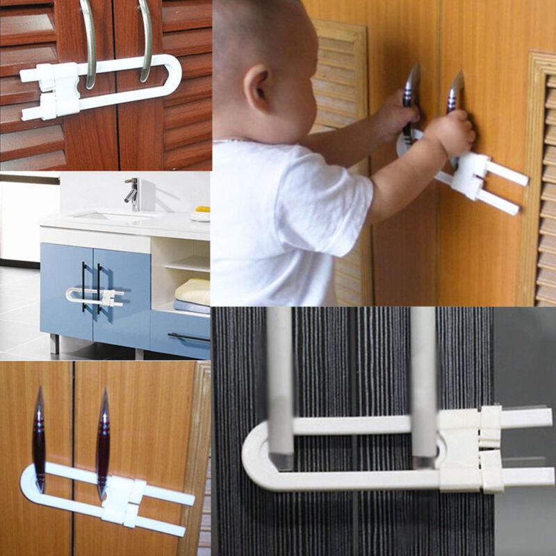 Baby U Shape Safety Lock Security For Cabinet Children Cupboard Door Drawer 4