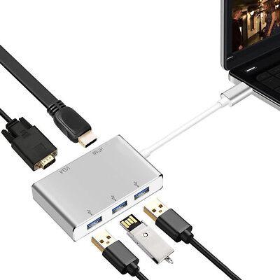 USB 3.1 Type C to HDMI VGA 3 Port USB 3.0 HUB Converter Adapter 6