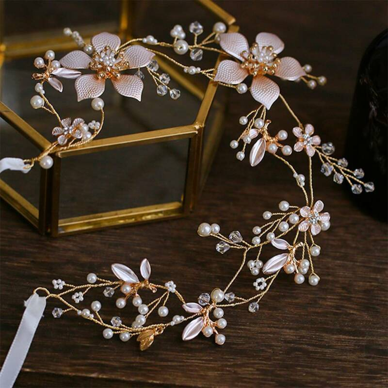 Chic Wedding Headband Bridal Headpieces Long Pearls Flower Gold Hair Accessories 4