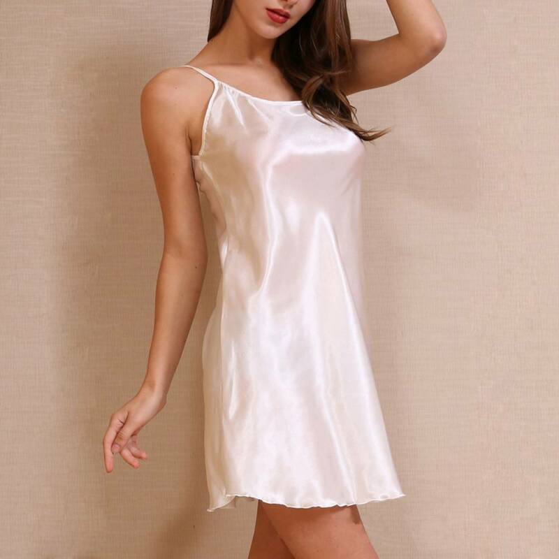 Silk Nightgown Breathable Ice Silk Nightgown Thin Section Girl's Silk Nightdress 6