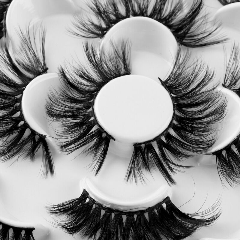 SKONHED 7 Pairs 25mm 6D Mink Hair False Eyelashes Thick Wispy Fluffy Lashes NEW 8