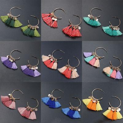 Fashion Bohemian Earrings Women Vintage Long Tassel Fringe Boho Dangle Earrings 3