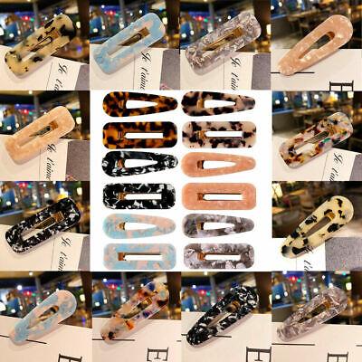 Fashion Women Geometric Hollow Acrylic Hair Clips Snap Barrette Stick Hairpin 2