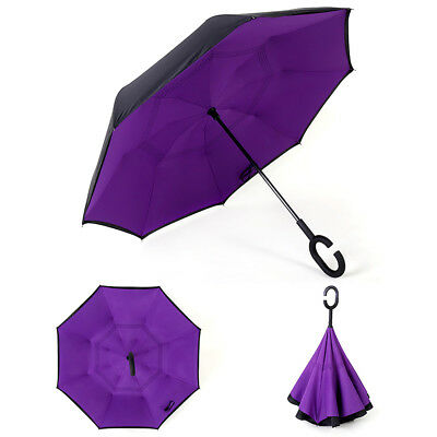 Windproof Upside Down Reverse Umbrella Double Layer Inside-Out Inverted C-Handle 7
