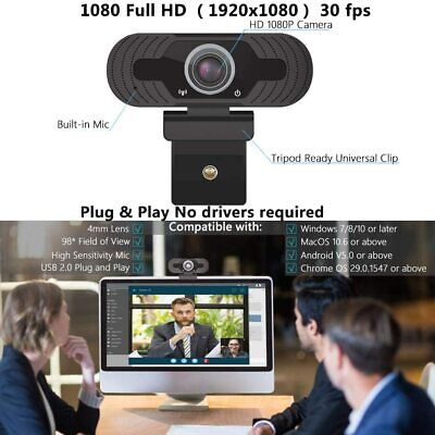Full HD 1080P Webcam With Microphone USB For PC Desktop Laptop NEW UK Stock 8