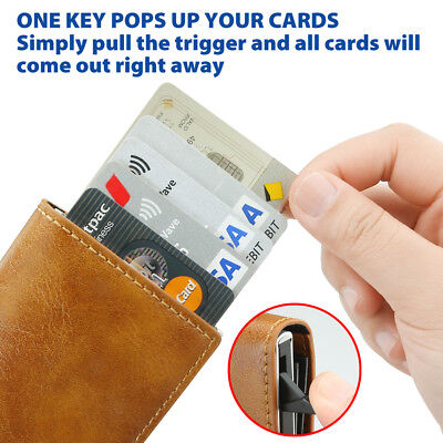 New Leather Credit Card Holder Men's Money cash Wallet Clip RFID Blocking Purse 3