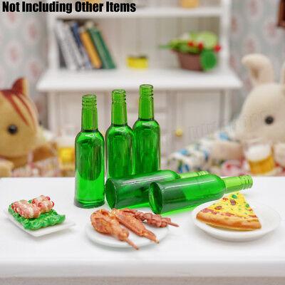 1:12 Miniature 6pcs Green Beer Wine Bottles Set Drink Beverage Model Dollhouse 7