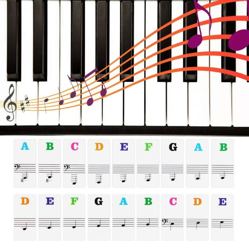 Transparent Music Piano Learner Stickers 88/61/54/49/37Key Note Keyboard Sticker 9