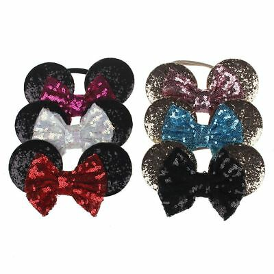 Kids Sequin MINNIE MICKEY MOUSE Headband Ears Bow Fancy Party Dress Up Accessory 4