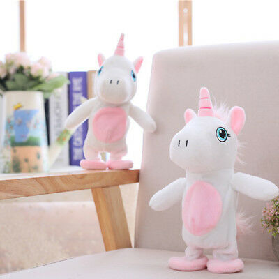 Walking Talking Unicorn Plush Toy With Talk Singing Songs XMAS Gift Kids Fun SQ