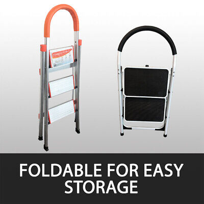 2 Or 3 Step Ladder Multi Purpose  Domestic Household Office Foldable Non Slip 3