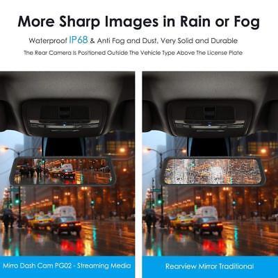 "AZDOME 10"" HD 1080P Dual Lens Car Dash Cam Recorder Mirror Touching Night Vision 4"