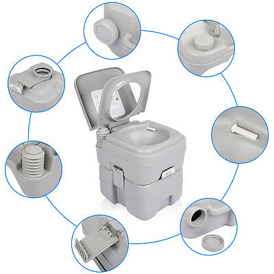 20L Portable Camping Toilet Flush Porta Travel Outdoor Vehicle Boat Toilet Potty 7