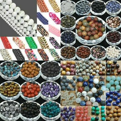 Natural Gemstone Round Spacer Loose Beads 4mm 6mm 8mm 10mm 12mm Assorted Stones 3