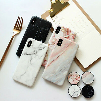 For iPhone XS Max XR 6 7 8 Plus Marble Pattern Pop Stand Holder TPU Case Cover 4