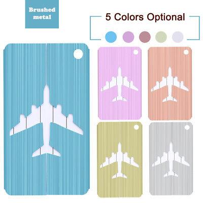 Pop Brushed Aluminium Luggage Tags Suitcase Label Address ID Baggage Tag Travel