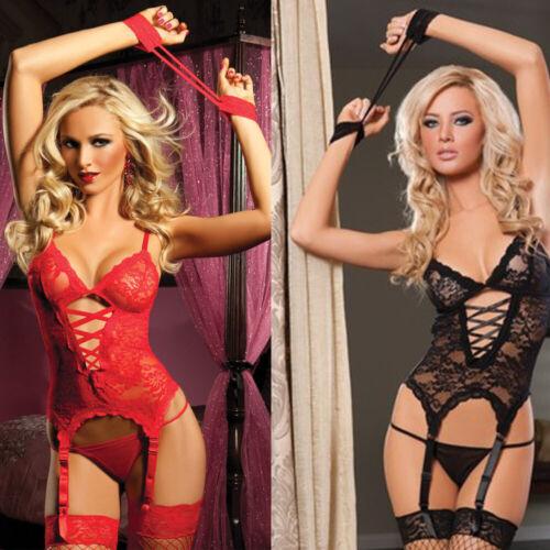 Women Sexy Lingerie Lace Dress G-string Thongs Underwear Babydoll Sleepwear Set 4