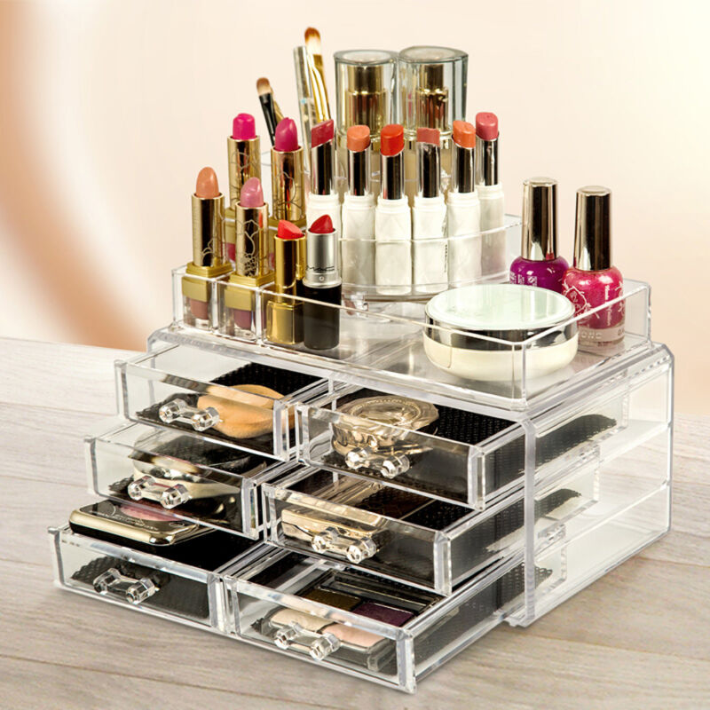 Clear Acrylic Cosmetic Organiser with Drawers Makeup Jewelry Display Box Case 3