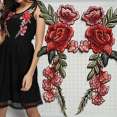 2Pcs Flower Rose Embroidered Iron on Patch Clothes Applique Sticker CW/_ AG/_ GC