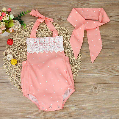 Newborn Baby Girls Romper Jumpsuit Bodysuit Infant Headband Clothes Outfits Id 5