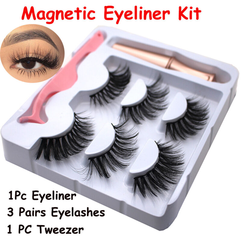 SKONHED 3 Pairs Magnetic Eyelashes With 1Pc Magnetic Eyeliner and Tweezer Set A+ 2