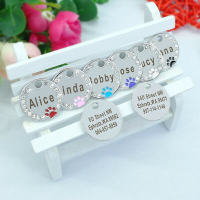 Personalized Dog Tags Paw Rhinestone Pet Cat ID Name Tag Engraved Free Hair Bows 11