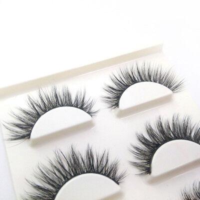 3 Pairs 100% Real 3D Mink Makeup Cross False Eyelashes Eye Lashes Handmade 10
