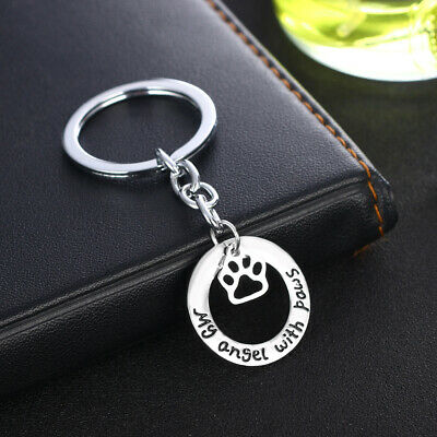 Pet Memorial Key Chain Dog Cat Print Love Heart Keychain Jewelry Charm Gifts 8