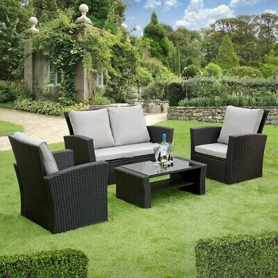 GSD Rattan Garden Furniture 4 Piece Patio Set Table Chairs Grey Black or Brown 2