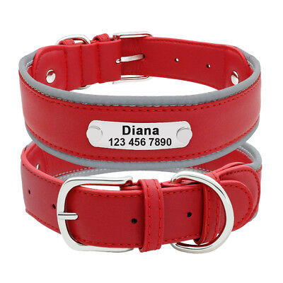 Reflective Personalized Dog Harness Padded Leather Large Dogs Engraved Collar 9