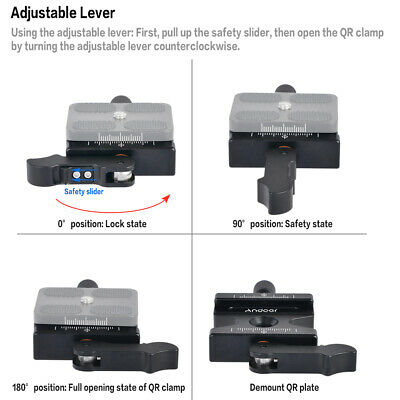 Andoer Tripod Quick Release Clamp Plate QR Lever Knob Type For Arca Swiss S4Z7