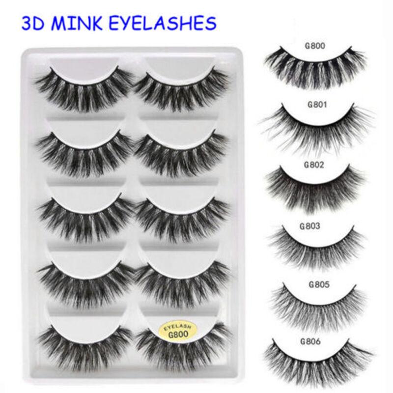 1d535aaa59e SKONHED 5 Pairs 3D Mink Hair False Eyelashes Wispy Cross Long Lashes Makeup  BIN 4 4 of 10 ...