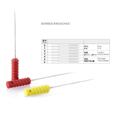 5BOX Dental Nerve Barbed Broaches Endodontic Needles Root Canal 25mm 0#-6# 4