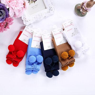 Baby Girls Knee High Socks Toddler Kids handmade Pom Pom School Tights Socks 3