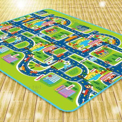 Kids Rug Play Mat Cushion Soft Carpet for Baby Educational Road Traffic City 2