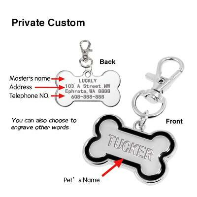 Bone Shape Engraved Dog Tags Pet Cat ID Tags Personalised Name Address for FREE 3