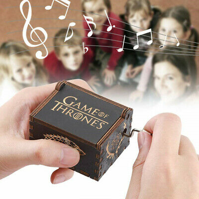"""""""Game of Thrones"""" Music Box Carved Wooden Hand Crank Handmade Xmas Kids Gift 7"""