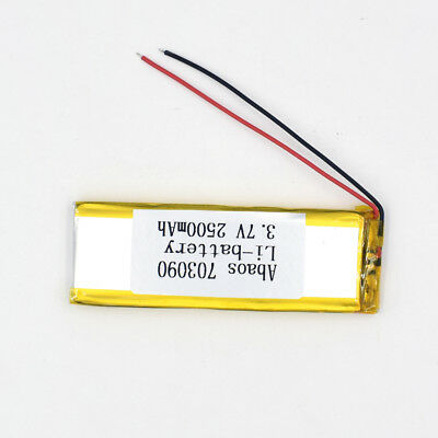3.7V 2500mAh 703090 Li-Polymer Rechargeable Cell Li-ion LiPo Battery for GPS MP3 5