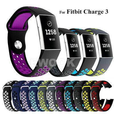 For Fitbit Charge 3 Bands Soft Silicone Adjustable Replacement Sport Strap Band 11