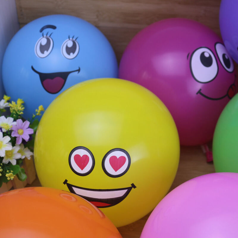 10pcs Latex Balloons Printed Big Eyes Smiley Happy Birthday Party Decoration 11