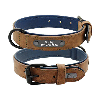 Soft Padded Leather Personalized Dog Collar Name ID for Small Medium Large Dogs 4