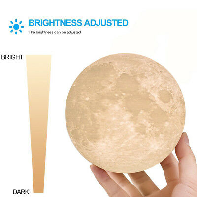 3D Printing Moon Lamp USB LED Night Light Moonlight Touch Color Changing 8-18CM 7