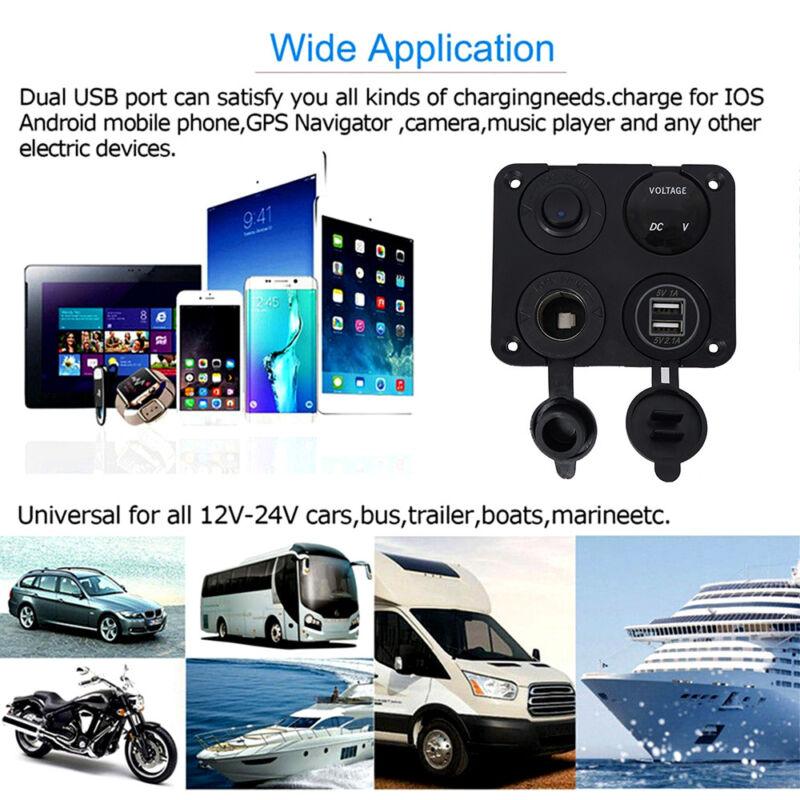 12V Car Boat switch panel Cigarette Lighter Socket 3.1A USB Charger Voltmeter 8