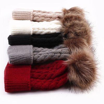 Newborn Girls Boys Kids Beanie Baby Knitted Hat Pom Pom Ball Wool Fur 4