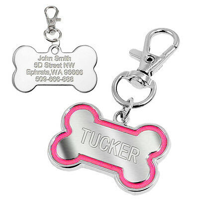 Bone Shape Pet Dog Tags Engraved Dog Cat Phone Tag Free Clicker Whistle 8